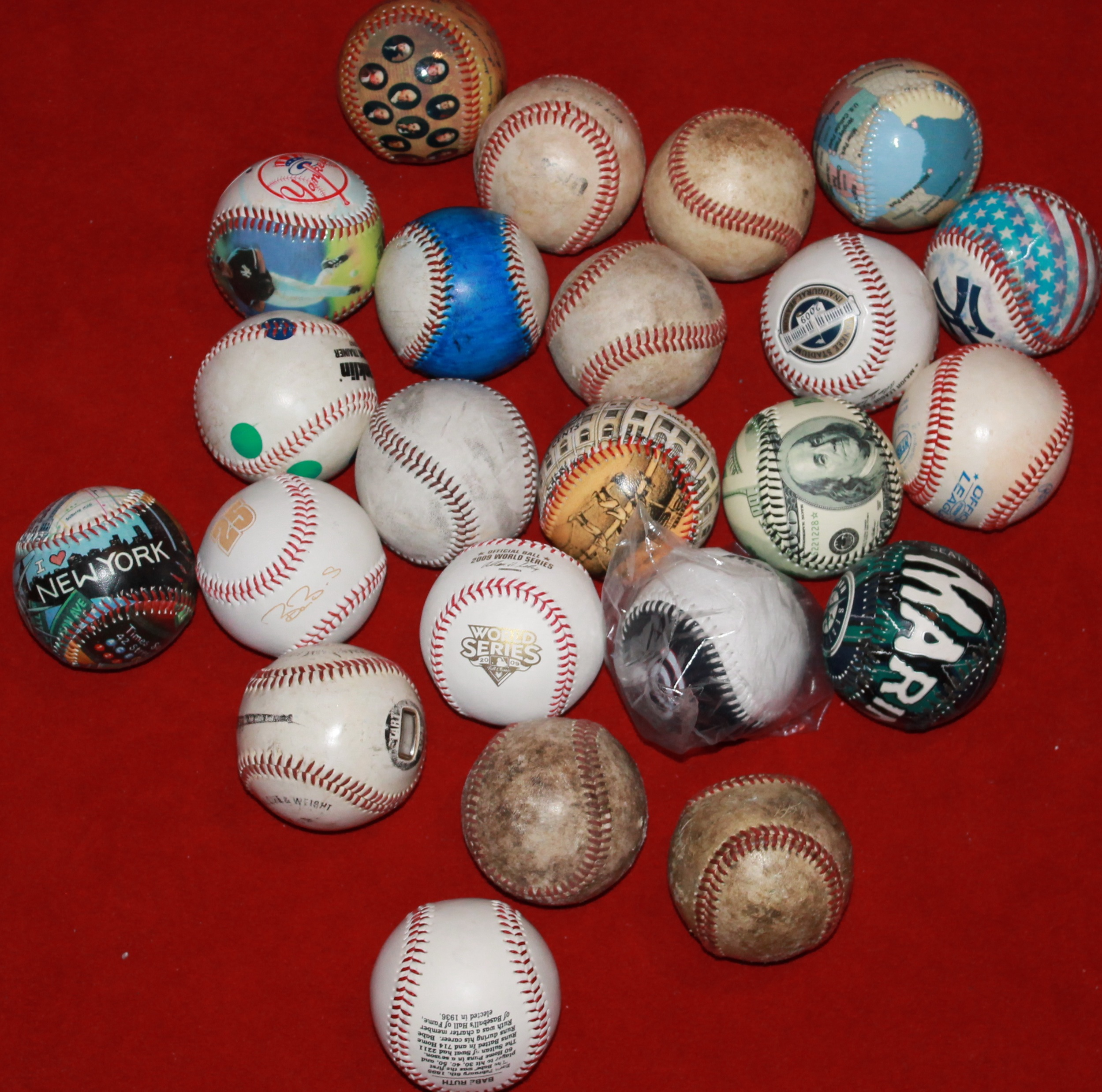 collected baseball knick knacks observing baseball